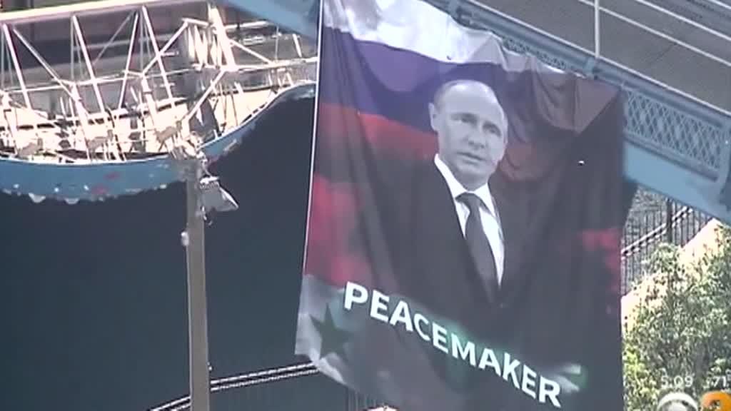 Путина повесили в Нью-йорке